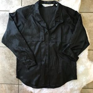 Diane Von Furstenberg DVF Vintage Black Button Up
